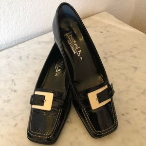 MARVIN K AQUATALIA block heel flats. Black Patent